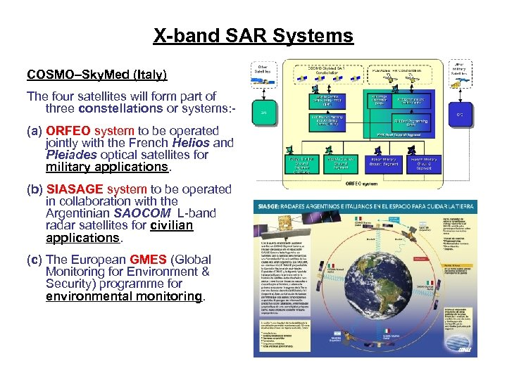 X-band SAR Systems COSMO–Sky. Med (Italy) The four satellites will form part of three