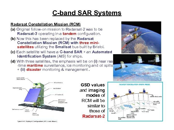 C-band SAR Systems Radarsat Constellation Mission (RCM) (a) Original follow-on mission to Radarsat-2 was
