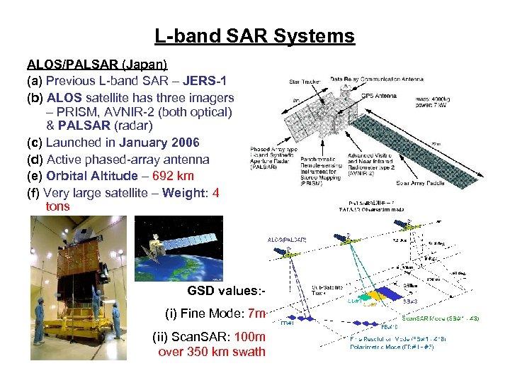 L-band SAR Systems ALOS/PALSAR (Japan) (a) Previous L-band SAR – JERS-1 (b) ALOS satellite