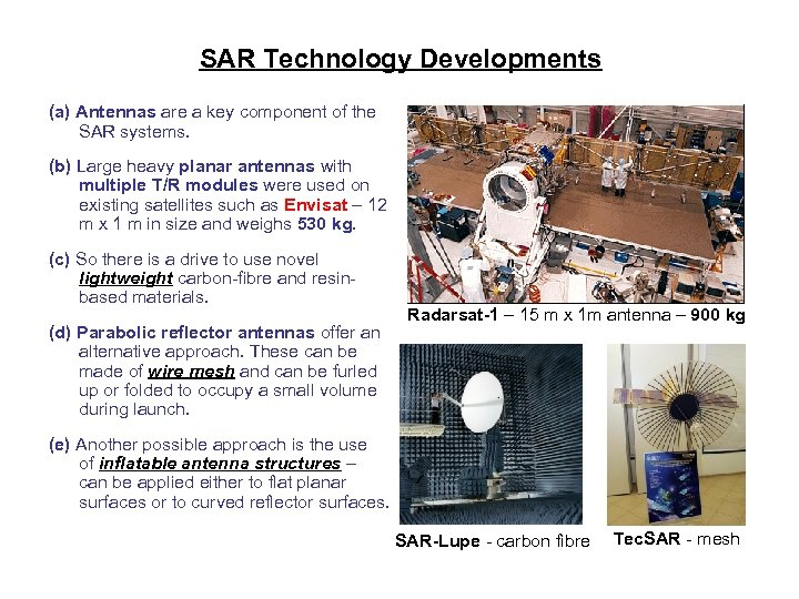 SAR Technology Developments (a) Antennas are a key component of the SAR systems. (b)
