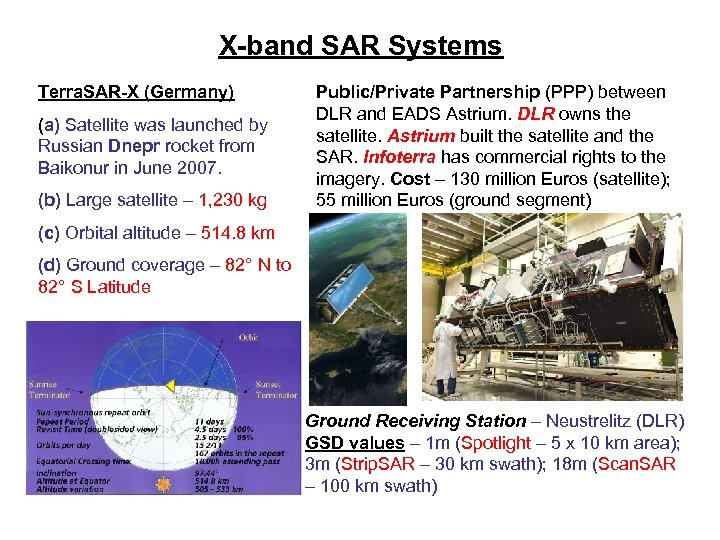 X-band SAR Systems Terra. SAR-X (Germany) (a) Satellite was launched by Russian Dnepr rocket