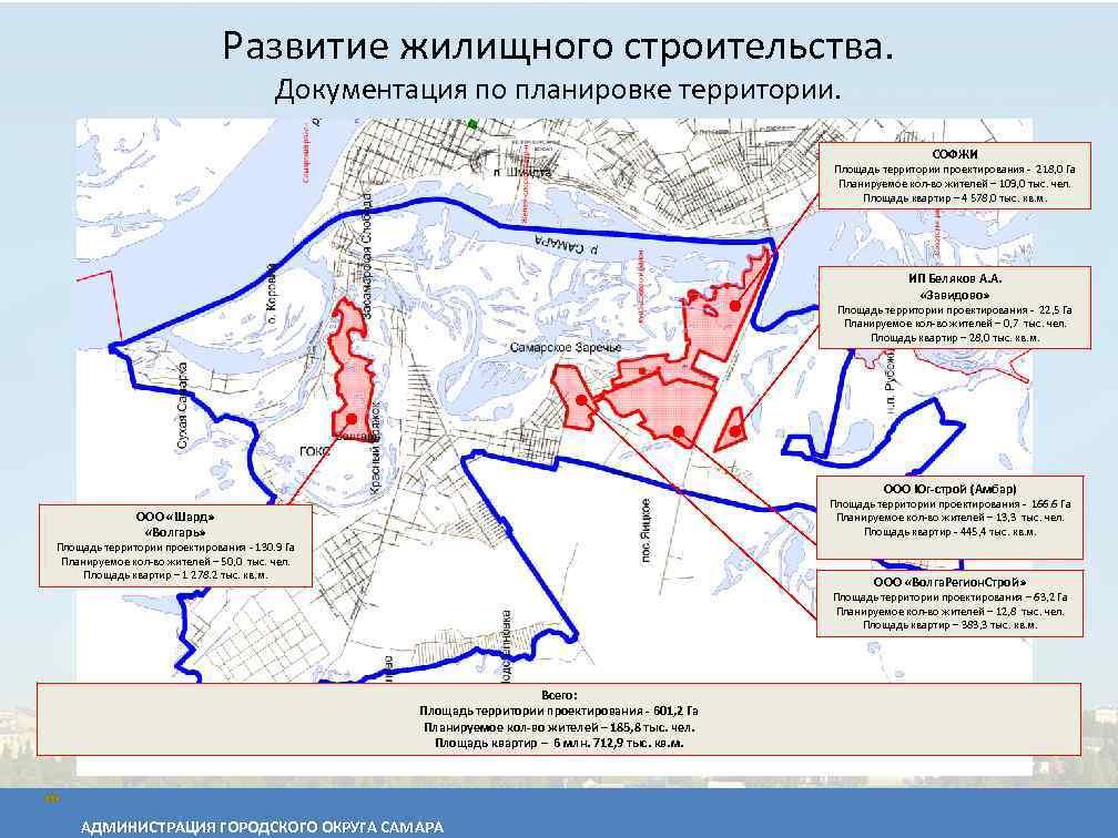 Развитие жилищного строительства. Документация по планировке территории. СОФЖИ Площадь территории проектирования - 218, 0