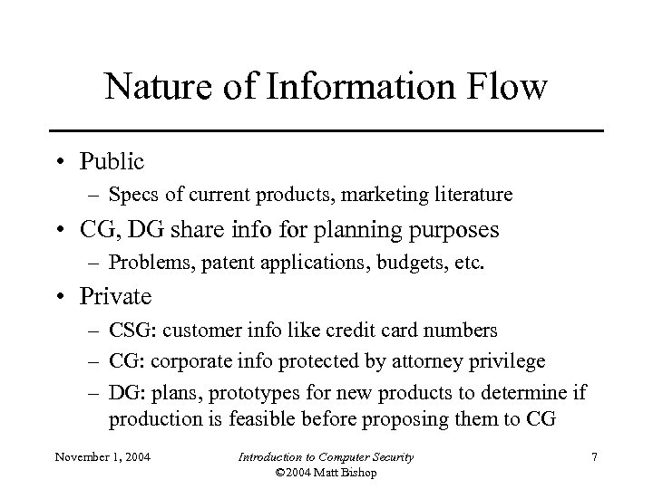 Nature of Information Flow • Public – Specs of current products, marketing literature •