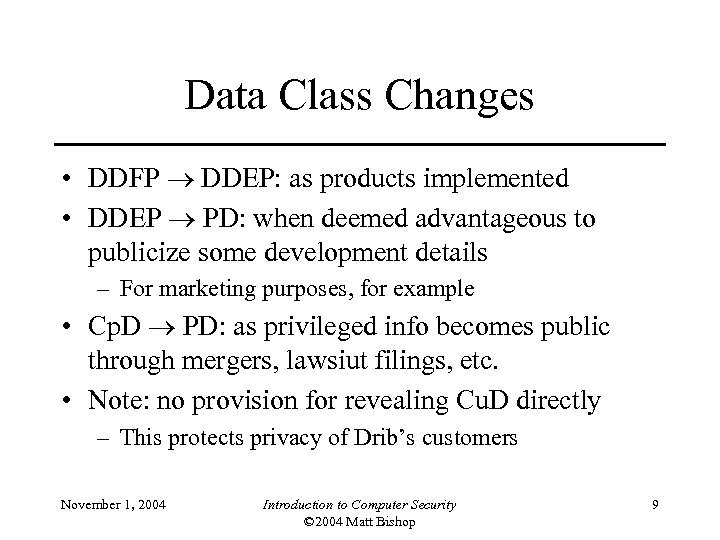 Data Class Changes • DDFP DDEP: as products implemented • DDEP PD: when deemed