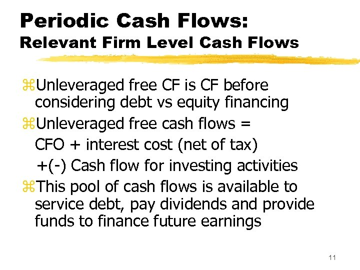 Periodic Cash Flows: Relevant Firm Level Cash Flows z. Unleveraged free CF is CF