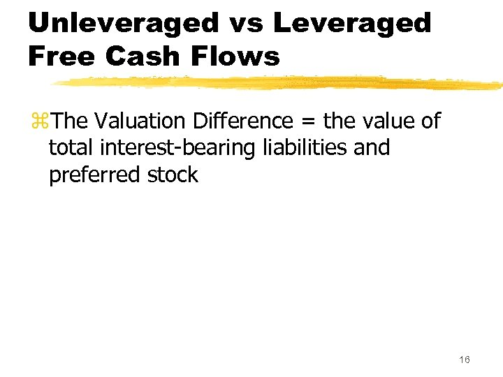 Unleveraged vs Leveraged Free Cash Flows z. The Valuation Difference = the value of