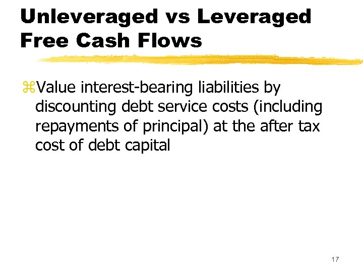 Unleveraged vs Leveraged Free Cash Flows z. Value interest-bearing liabilities by discounting debt service