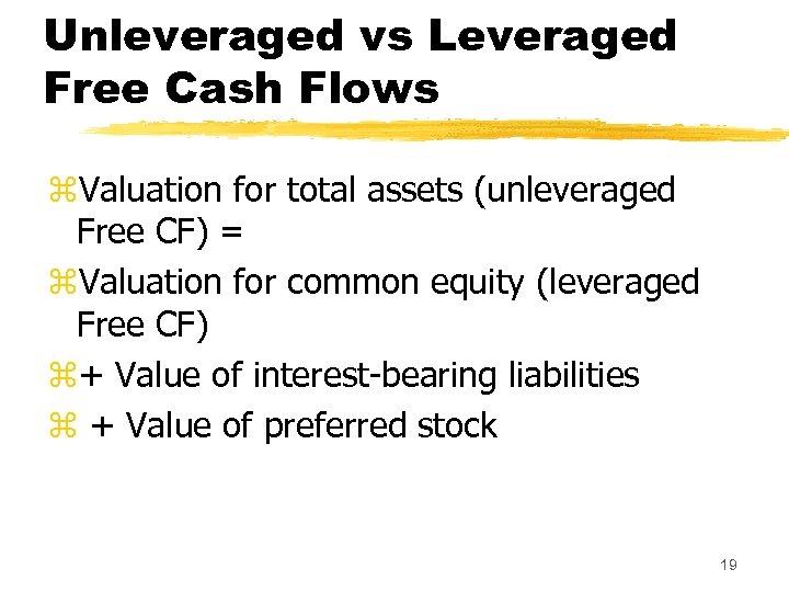 Unleveraged vs Leveraged Free Cash Flows z. Valuation for total assets (unleveraged Free CF)