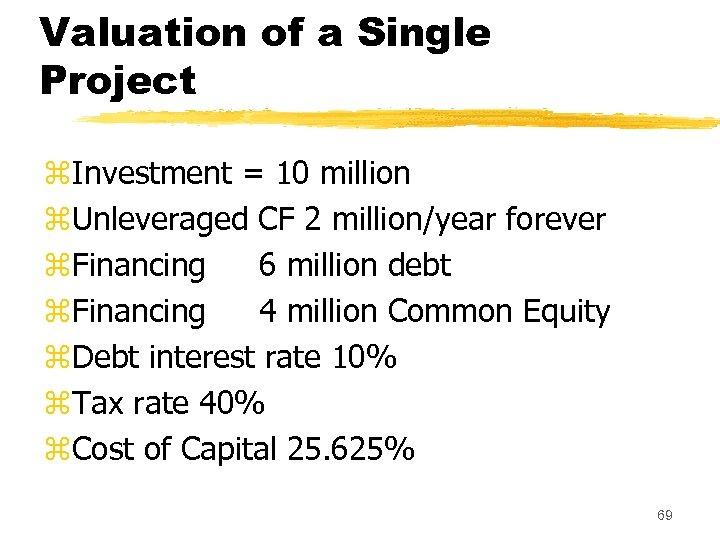 Valuation of a Single Project z. Investment = 10 million z. Unleveraged CF 2