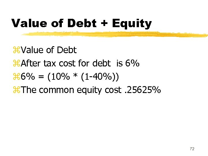 Value of Debt + Equity z. Value of Debt z. After tax cost for