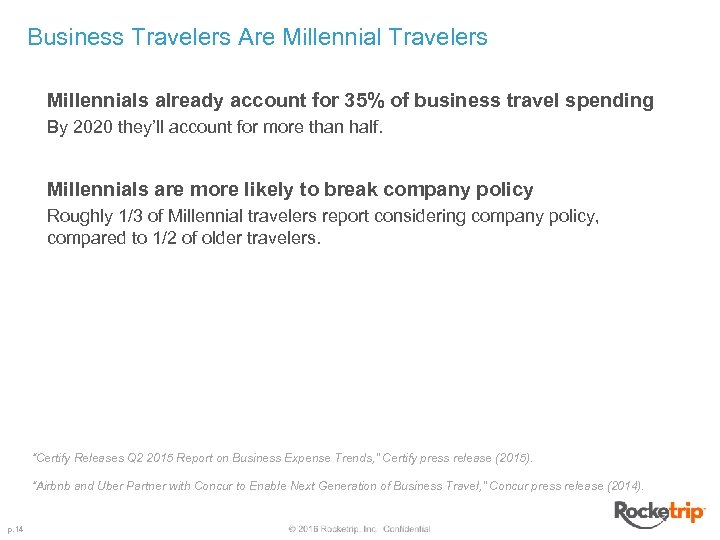 Business Travelers Are Millennial Travelers Millennials already account for 35% of business travel spending