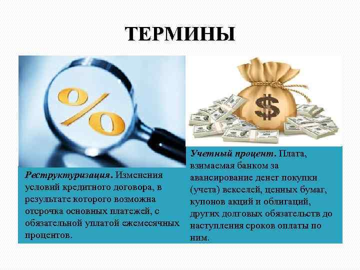 ТЕРМИНЫ Учетный процент. Плата, взимаемая банком за Реструктуризация. Изменения авансирование денег покупки условий кредитного