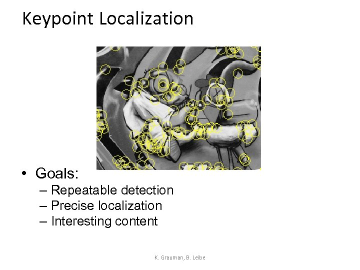 Keypoint Localization • Goals: – Repeatable detection – Precise localization – Interesting content K.