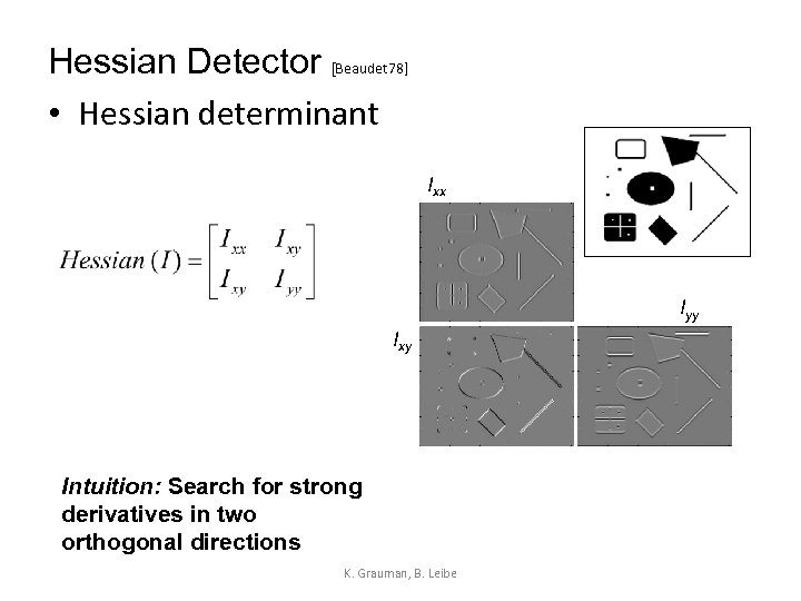 Hessian Detector [Beaudet 78] • Hessian determinant Ixx Iyy Ixy Intuition: Search for strong