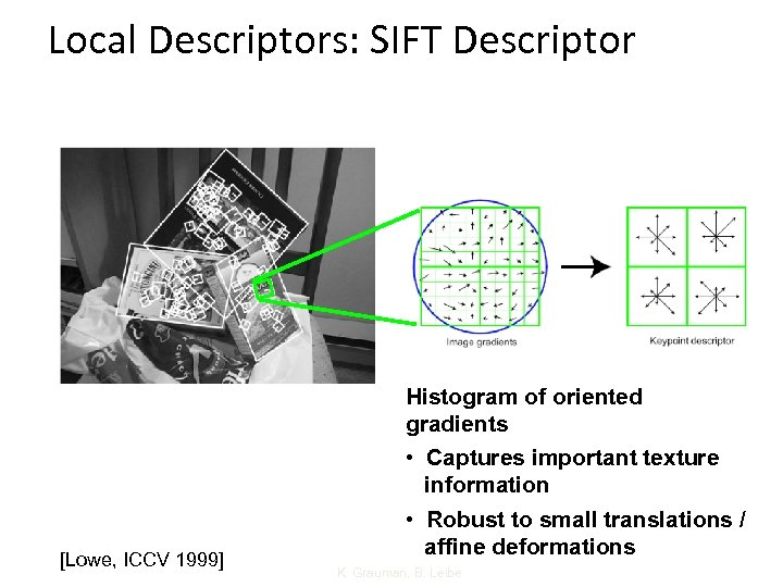 Local Descriptors: SIFT Descriptor [Lowe, ICCV 1999] Histogram of oriented gradients • Captures important