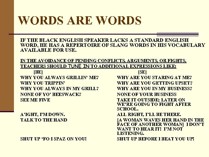 WORDS ARE WORDS IF THE BLACK ENGLISH SPEAKER LACKS A STANDARD ENGLISH WORD, HE