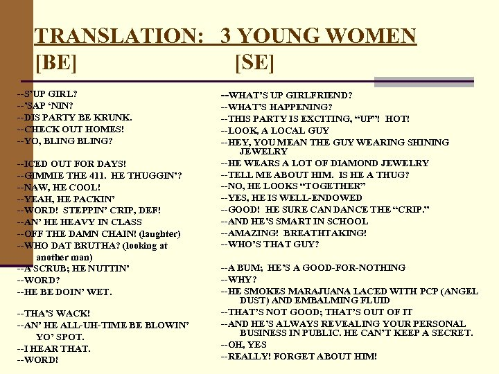 TRANSLATION: 3 YOUNG WOMEN [BE] [SE] --S'UP GIRL? --'SAP 'NIN? --DIS PARTY BE KRUNK.