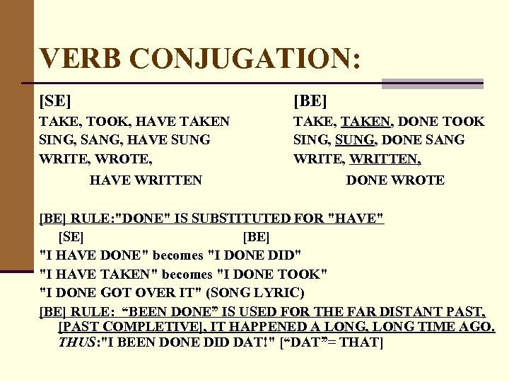 VERB CONJUGATION: [SE] [BE] TAKE, TOOK, HAVE TAKEN SING, SANG, HAVE SUNG WRITE, WROTE,