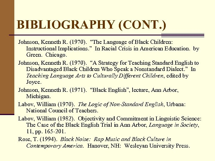 """BIBLIOGRAPHY (CONT. ) Johnson, Kenneth R. (1970). """"The Language of Black Children: Instructional Implications."""