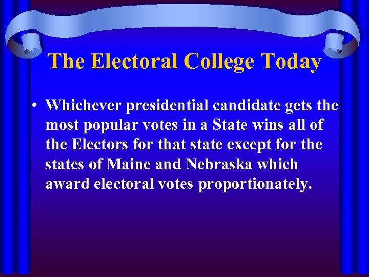 understanding the principle of the electoral college 2016-11-29 if democracy means the majority rules, the electoral college is an undemocratic institution twice in the last five elections it has delivered the.