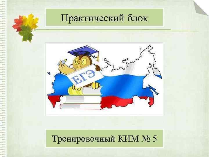 Практический блок Тренировочный КИМ № 5