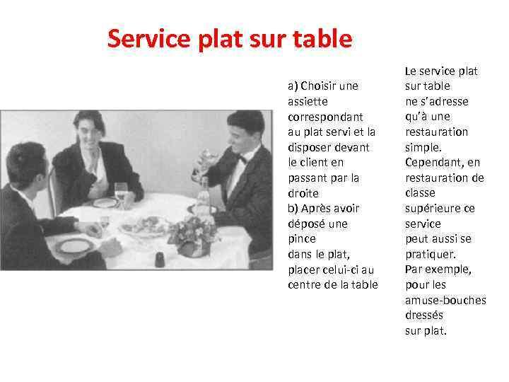 Service plat sur table a) Choisir une assiette correspondant au plat servi et la