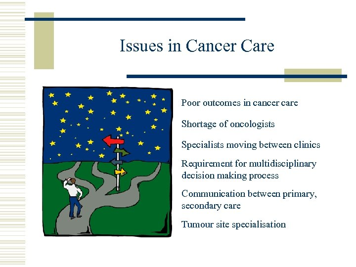 Issues in Cancer Care Poor outcomes in cancer care Shortage of oncologists Specialists moving