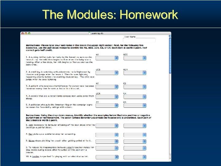 The Modules: Homework