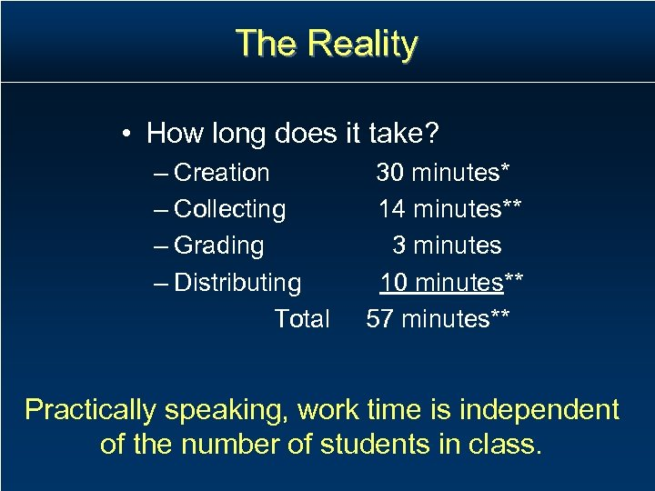 The Reality • How long does it take? – Creation – Collecting – Grading