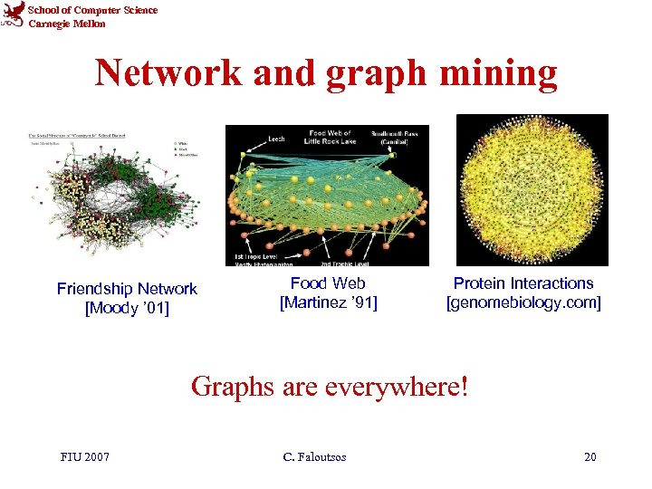 School of Computer Science Carnegie Mellon Network and graph mining Friendship Network [Moody '
