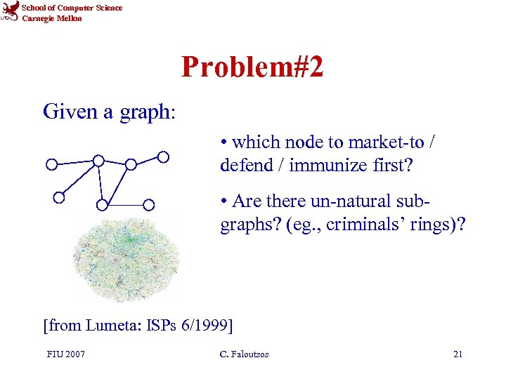 School of Computer Science Carnegie Mellon Problem#2 Given a graph: • which node to