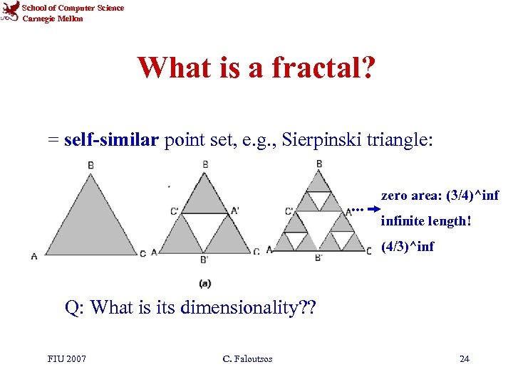 School of Computer Science Carnegie Mellon What is a fractal? = self-similar point set,