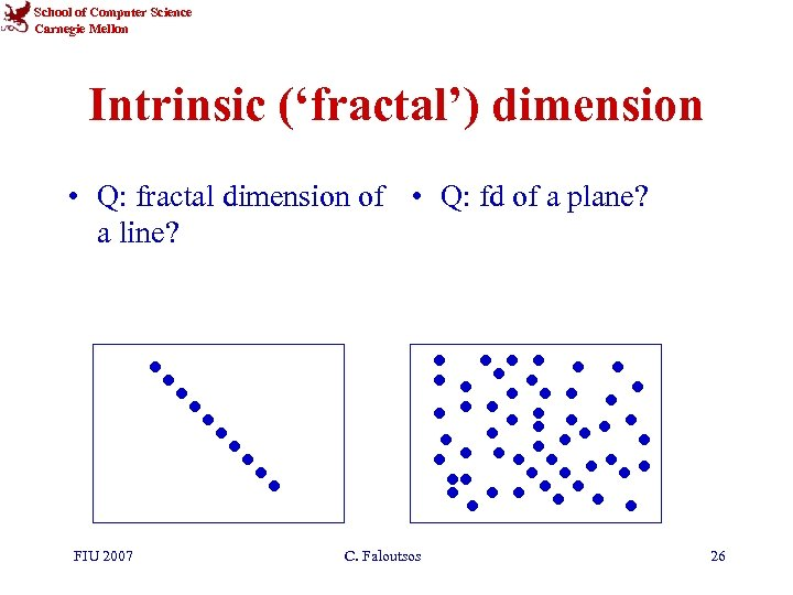 School of Computer Science Carnegie Mellon Intrinsic ('fractal') dimension • Q: fractal dimension of