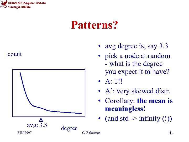 School of Computer Science Carnegie Mellon Patterns? • avg degree is, say 3. 3