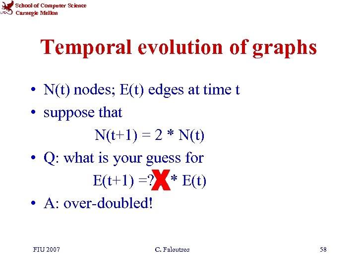 School of Computer Science Carnegie Mellon Temporal evolution of graphs • N(t) nodes; E(t)
