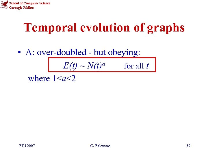 School of Computer Science Carnegie Mellon Temporal evolution of graphs • A: over-doubled -