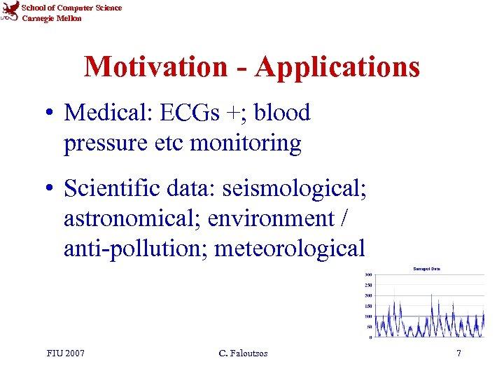 School of Computer Science Carnegie Mellon Motivation - Applications • Medical: ECGs +; blood