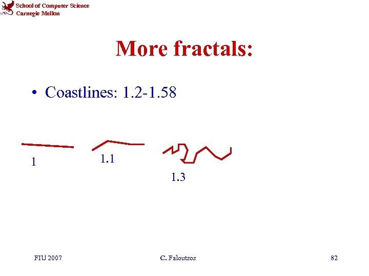 School of Computer Science Carnegie Mellon More fractals: • Coastlines: 1. 2 -1. 58