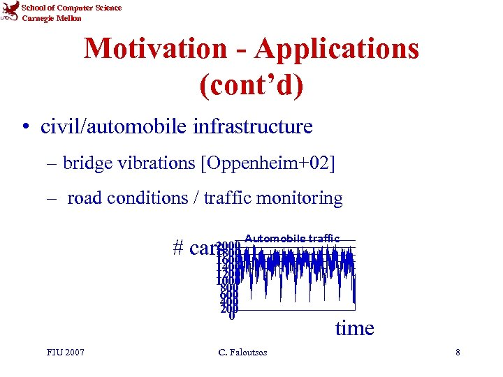 School of Computer Science Carnegie Mellon Motivation - Applications (cont'd) • civil/automobile infrastructure –