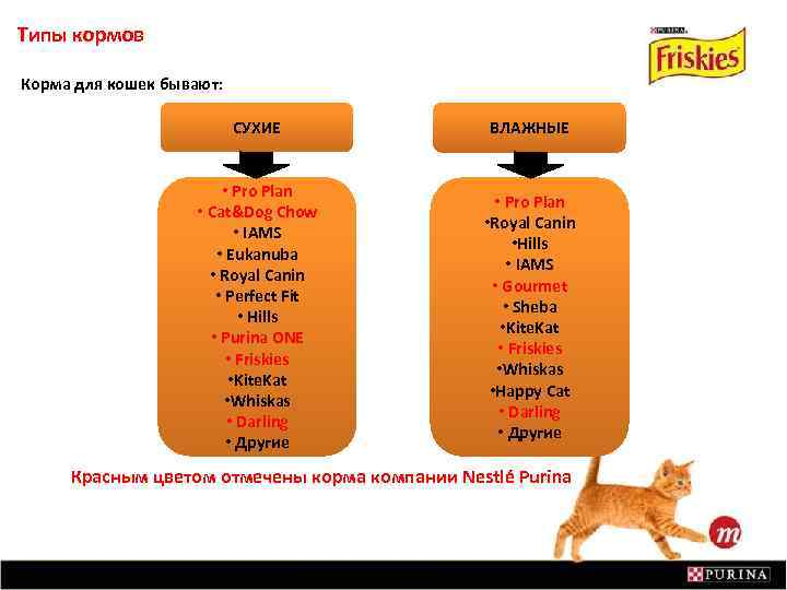 Типы кормов Корма для кошек бывают: СУХИЕ ВЛАЖНЫЕ • Pro Plan • Cat&Dog Chow