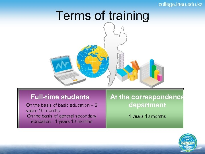 college. ineu. edu. kz Terms of training Full-time students On the basis of basic