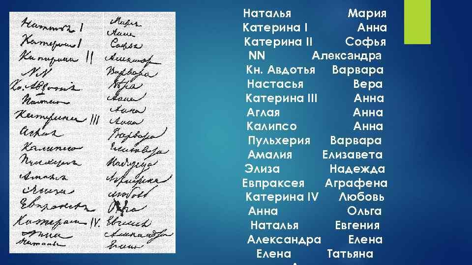 Наталья Мария Катерина I Анна Катерина II Софья NN Александра Кн. Авдотья Варвара Настасья