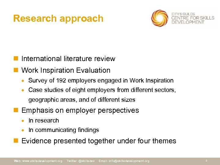 Research approach n International literature review n Work Inspiration Evaluation · Survey of 192