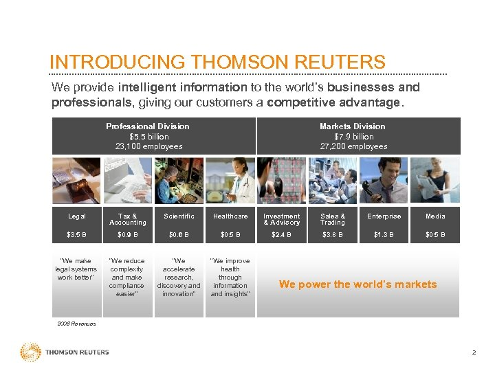 INTRODUCING THOMSON REUTERS We provide intelligent information to the world's businesses and professionals, giving