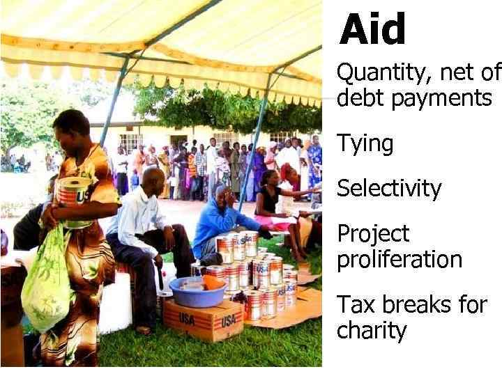 Aid Quantity, net of debt payments Tying Selectivity Project proliferation Tax breaks for charity