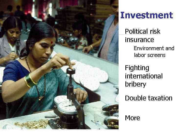 Investment Political risk insurance Environment and labor screens Fighting international bribery Double taxation More