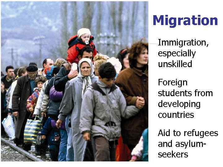 Migration Immigration, especially unskilled Foreign students from developing countries Aid to refugees and asylumseekers