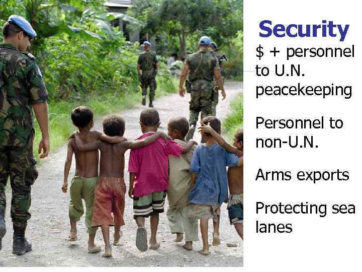 Security $ + personnel to U. N. peacekeeping Personnel to non-U. N. Arms exports