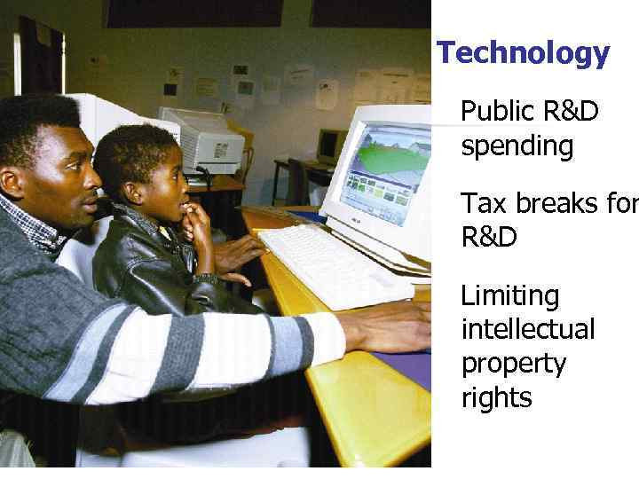 Technology Public R&D spending Tax breaks for R&D Limiting intellectual property rights