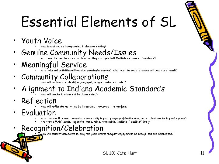 Essential Elements of SL • Youth Voice • How is youth voice incorporated in